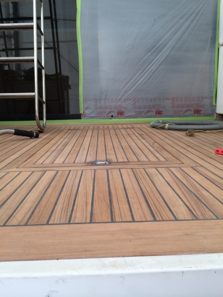 Goldair new teak - seams caulked