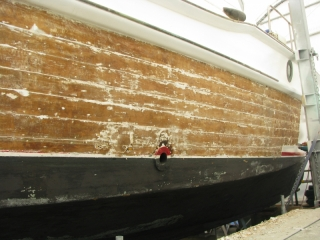 Marguerite - stripping hull paint1