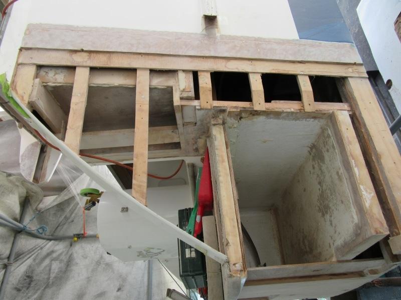 Rot repair starboard aft corner